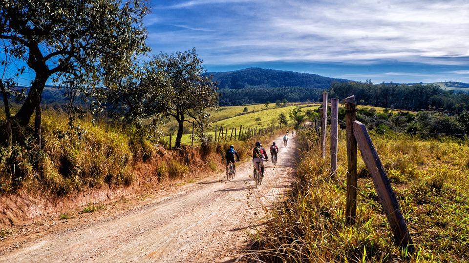 mountain biking with pro bikers